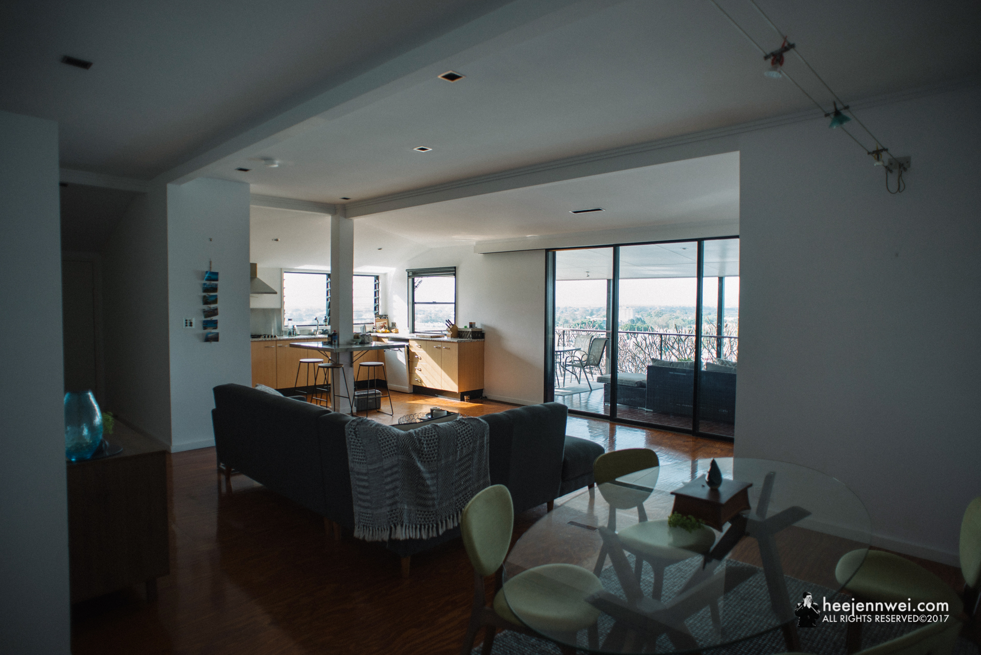 Clean and modern shared open-plan living space.