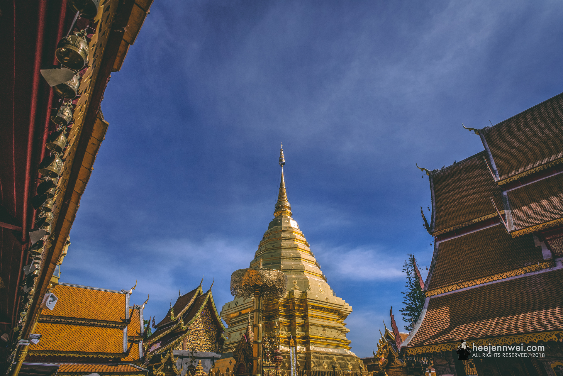 The temple is arranged around a central region copper plated chedi - which is the most holy area of the temple grounds.
