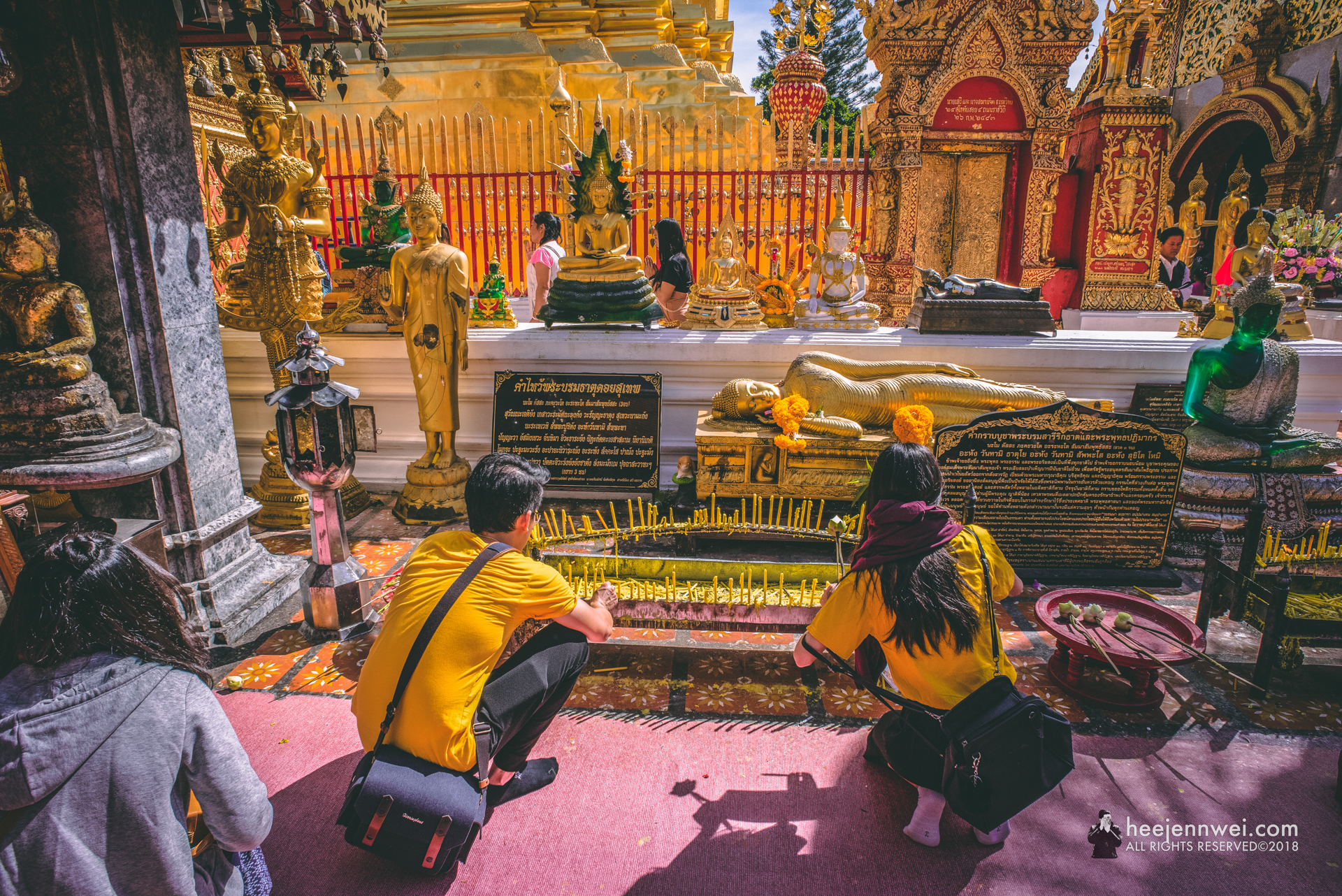 It is customary to walk around the chedi three times chanting a prayers and leaving a wish bell to chime in the breeze.