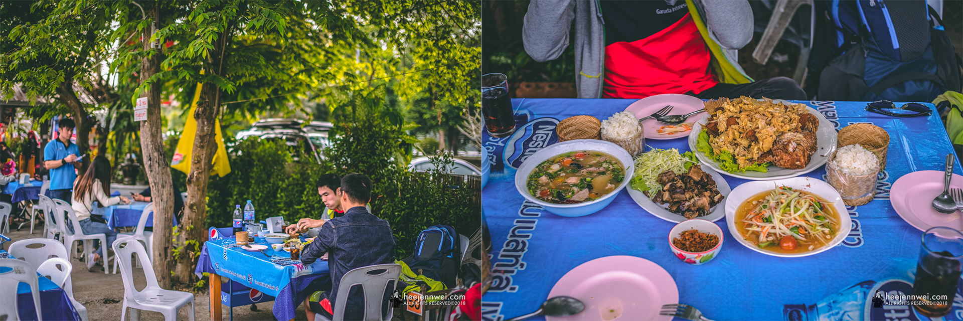 When in Chiang Rai, lunch at Lab Sanam Keela is a MUST! This is a local Thai food restaurant you don't want to miss! They mostly serve Lanna food; here are the few dishes i'd recommend - Yang Ruam (Pork), Jeen Neung (Beef), Tom Sab Moo (Spicy Soup), Pla Tabtim Tod Kratiem (Fried Fish) and sticky rice!