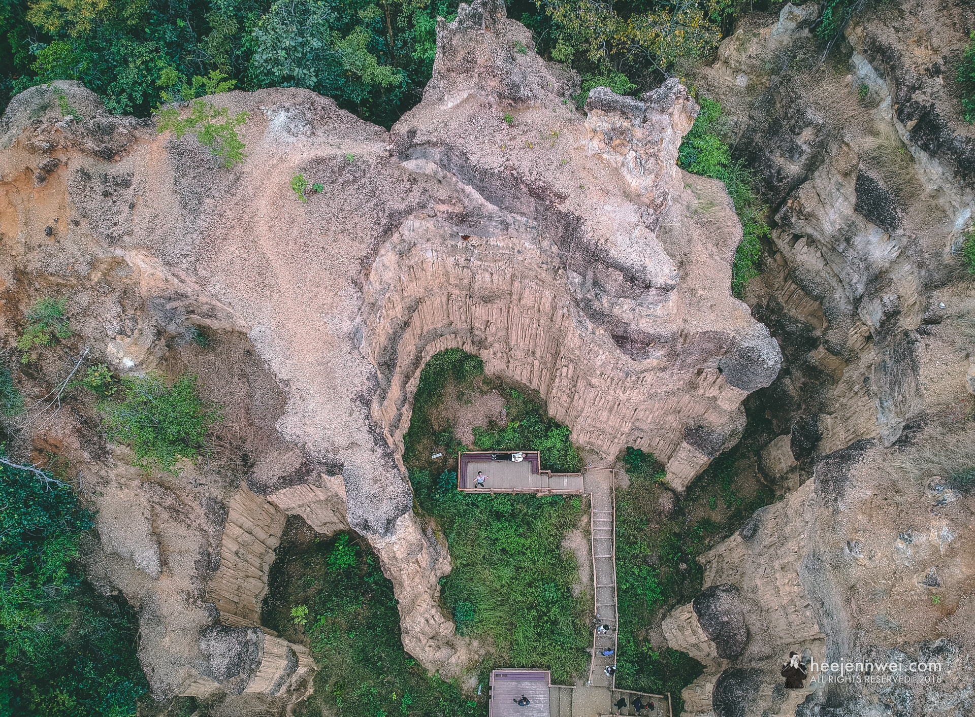 Pha Chor canyon from aerial view, you'll be able to see how the river crafted out these impressive pillars.