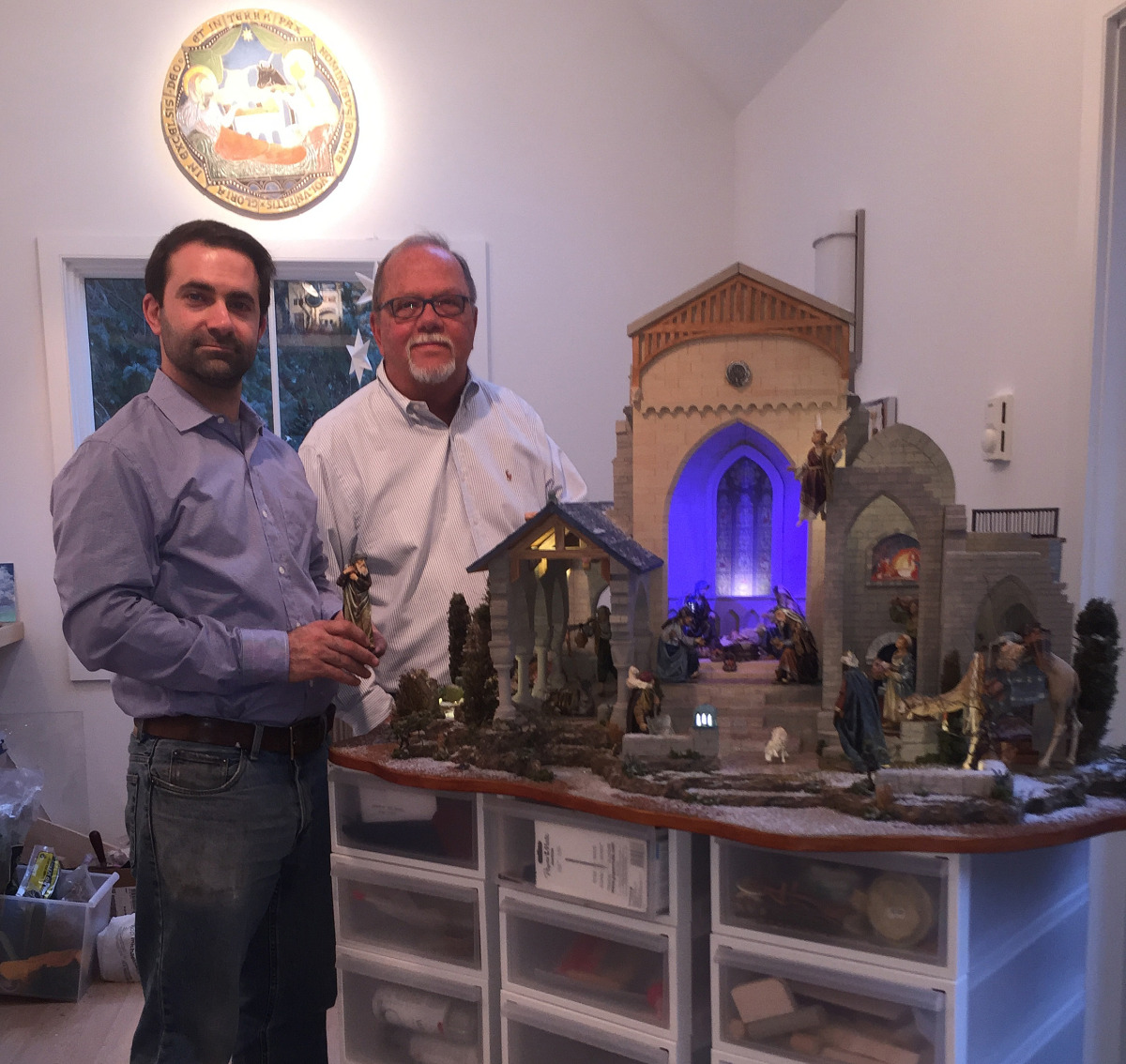 A.J. DiAntonio and Michael Stumpf with the completed Glencairn Nativity, in the Navidad Nativities workshop in Bucks County (2015).