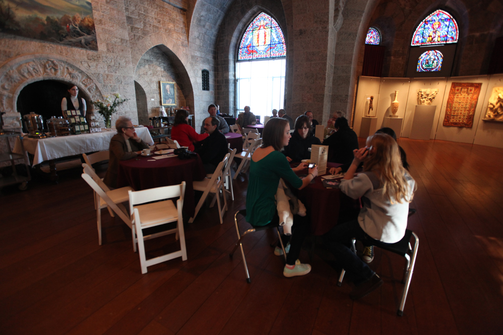 Medieval Festival-goers relax in the Castle Cafe, located near the temporary exhibition.