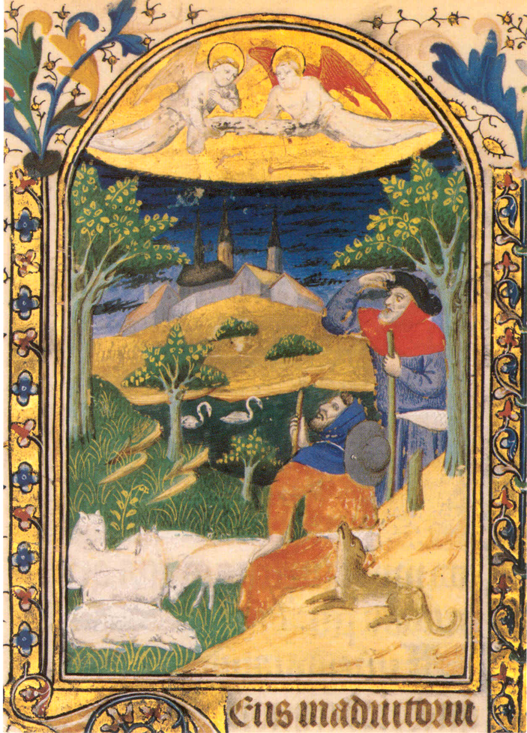 This illustration of the Annunciation to the Shepherds comes from a 15th-century Flemish Book of Hours in the collection of Glencairn Museum (07.MS.639). Books of Hours were prayer books for the laity. Glencairn's book includes a number of other pictures from the Christmas story, including the Annunciation to Mary, the Visitation of Mary to Elizabeth, the Nativity, the Adoration of the Wise Men, the Presentation in the Temple, the Massacre of the Innocents, and the Flight into Egypt.