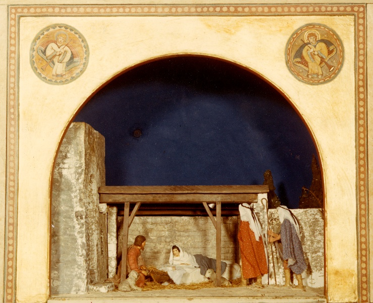 One of three Nativity scenes designed in the 1920s by Bryn Athyn artist Winfred S. Hyatt (1891-1959). The scenes were commissioned by Raymond and Mildred Pitcairn for use in their home at Cairnwood, where they were considered to be the most important element in the elaborate Christmas decorations in the parlor hall. When the Pitcairn family moved to Glencairn in 1939 the three-part Nativity scene moved with them. Collection of Glencairn Museum. Photo courtesy of the Glencairn Museum Archives.