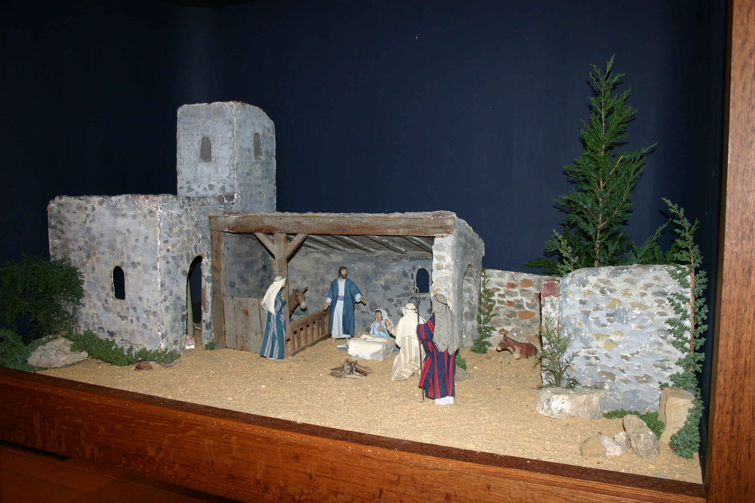 """Bryn Athyn Cathedral has three Nativity scenes made by Winfred S. Hyatt, very similar in appearance to the ones he made for the Pitcairn family. It is not known exactly when the scenes were made, but they were in use by 1929. After the Christmas Eve service in 1929, """"the whole congregation filed out to the Choir Hall, where were three beautiful representations, modeled by Mr. Winfred Hyatt..."""" (New Church Life 1930, 189). Bryn Athyn Cathedral's Nativity is still displayed each year at Christmas time in the choir hall. Photo courtesy of Bryn Athyn Cathedral."""