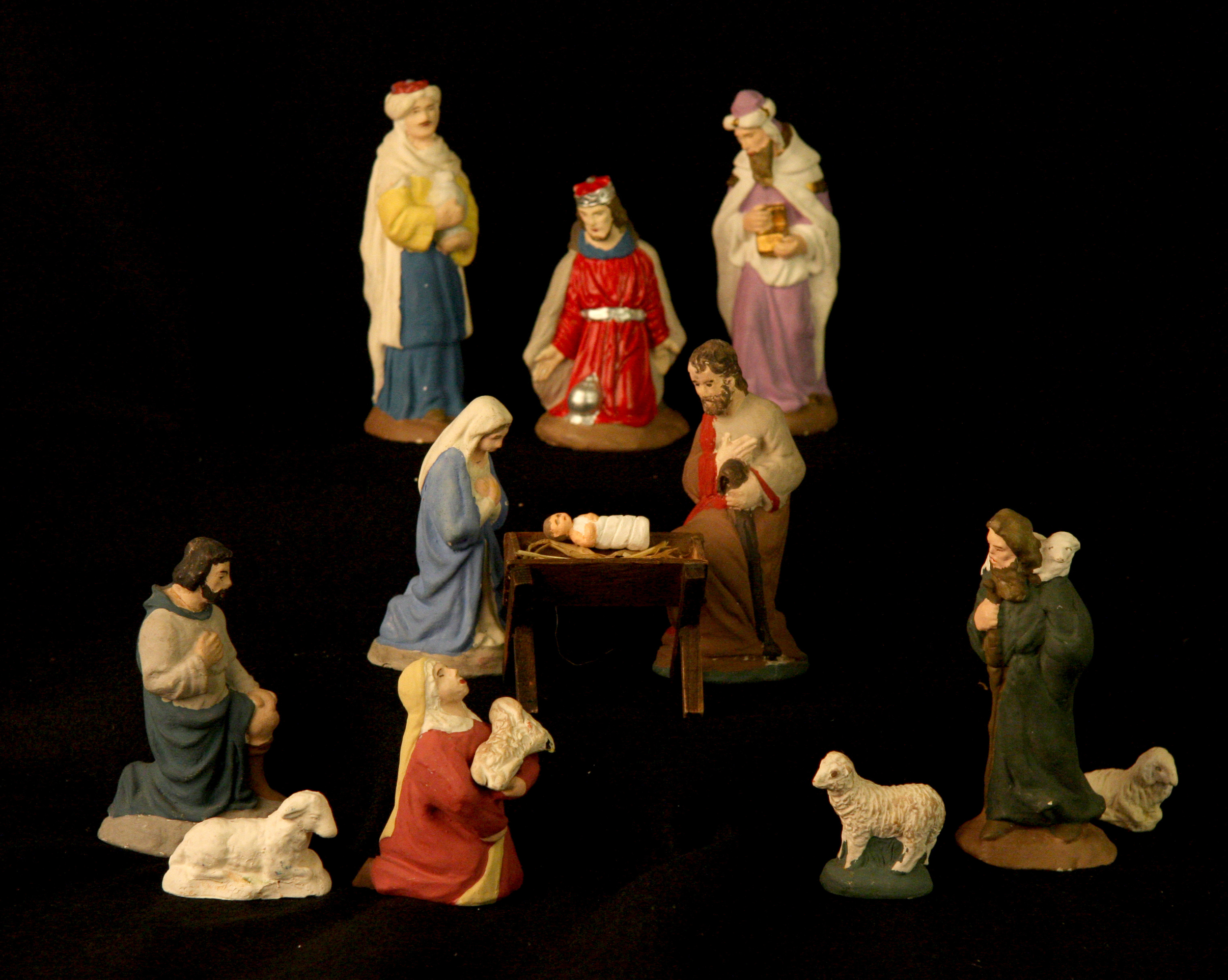 Theta Alpha, an organization for New Church women, began making chalkware Nativities in 1951, and continued the tradition until the early 1990s. The sets were initially made by teams of women working in the basement of Bryn Athyn Cathedral, and sent to families around the world who did not live near a New Church congregation. Collection of Glencairn Museum, gift of Theta Alpha International.