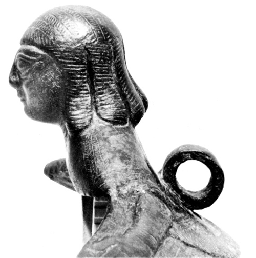 Figure 2: Glencairn siren cauldron attachment, left profile. Photograph from David Gilman Romano and Irene Bald Romano,  Catalogue of the Classical Collections of the Glencairn Museum  (Bryn Athyn, 1999)