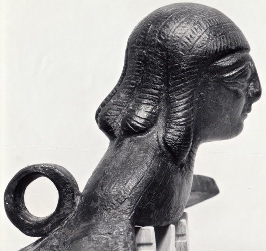 Figure 2: Glencairn siren cauldron attachment, right profile. Photograph from David Gilman Romano and Irene Bald Romano,  Catalogue of the Classical Collections of the Glencairn Museum  (Bryn Athyn, 1999)