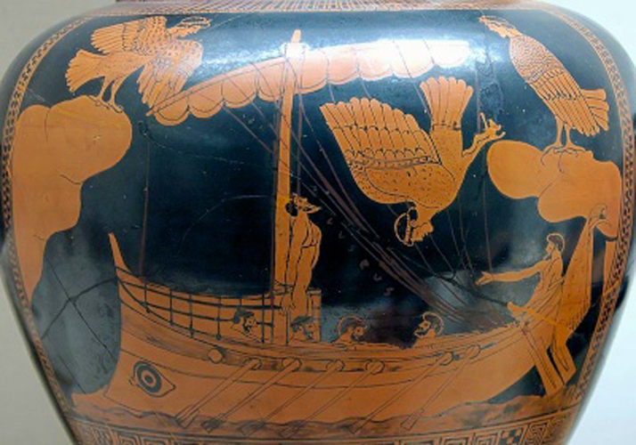 Figure 4: Attic red-figured stamnos with a scene of Odysseus and the Sirens, ca. 480-470 B.C., from Vulci, British Museum E440. Image in the public domain through Wikipedia.