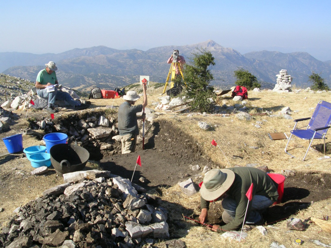 Figure 11: Excavation of the Ash Altar of the Sanctuary of Zeus at Mt. Lykaion. 2007. Photograph courtesy of the Mt. Lykaion Excavation and Survey Project and David Gilman Romano, University of Arizona.