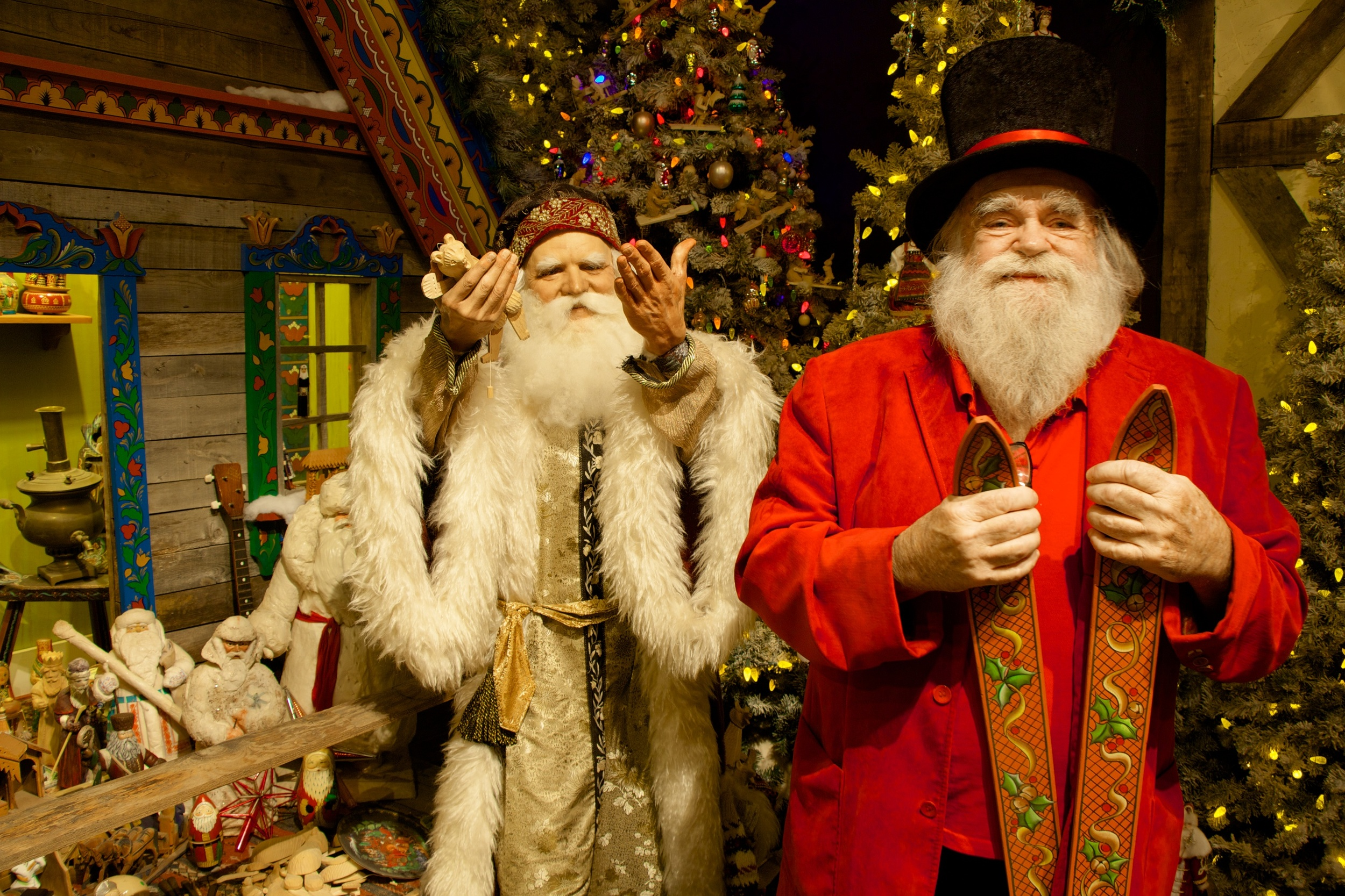 HAPPY NEW YEAR from Father Frost and Santa, Jr.(a.k.a. Jim Morrison in red). The figure of Father Frost, who delivers presents on New Year's Eve in Russia, is part of a  Christmas Around the World  exhibition at the National Christmas Center.