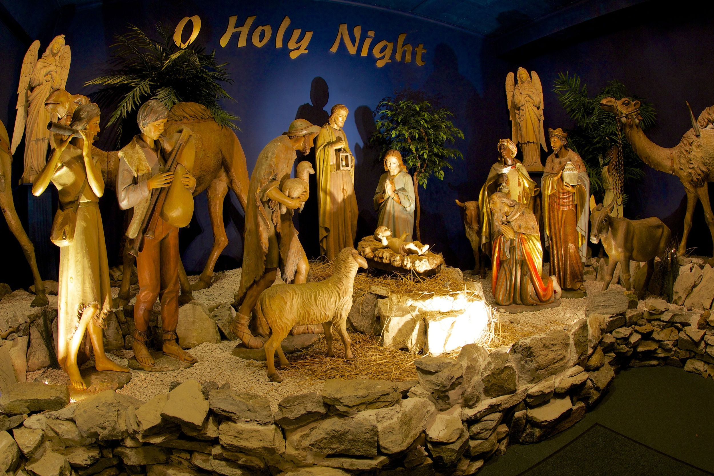 Figure 11: This 3/4 life-sized, wood-carved Nativity at the National Christmas Center was once owned by the Marshall Field's department store in Chicago, where it was displayed at the beginning of the 20th century.