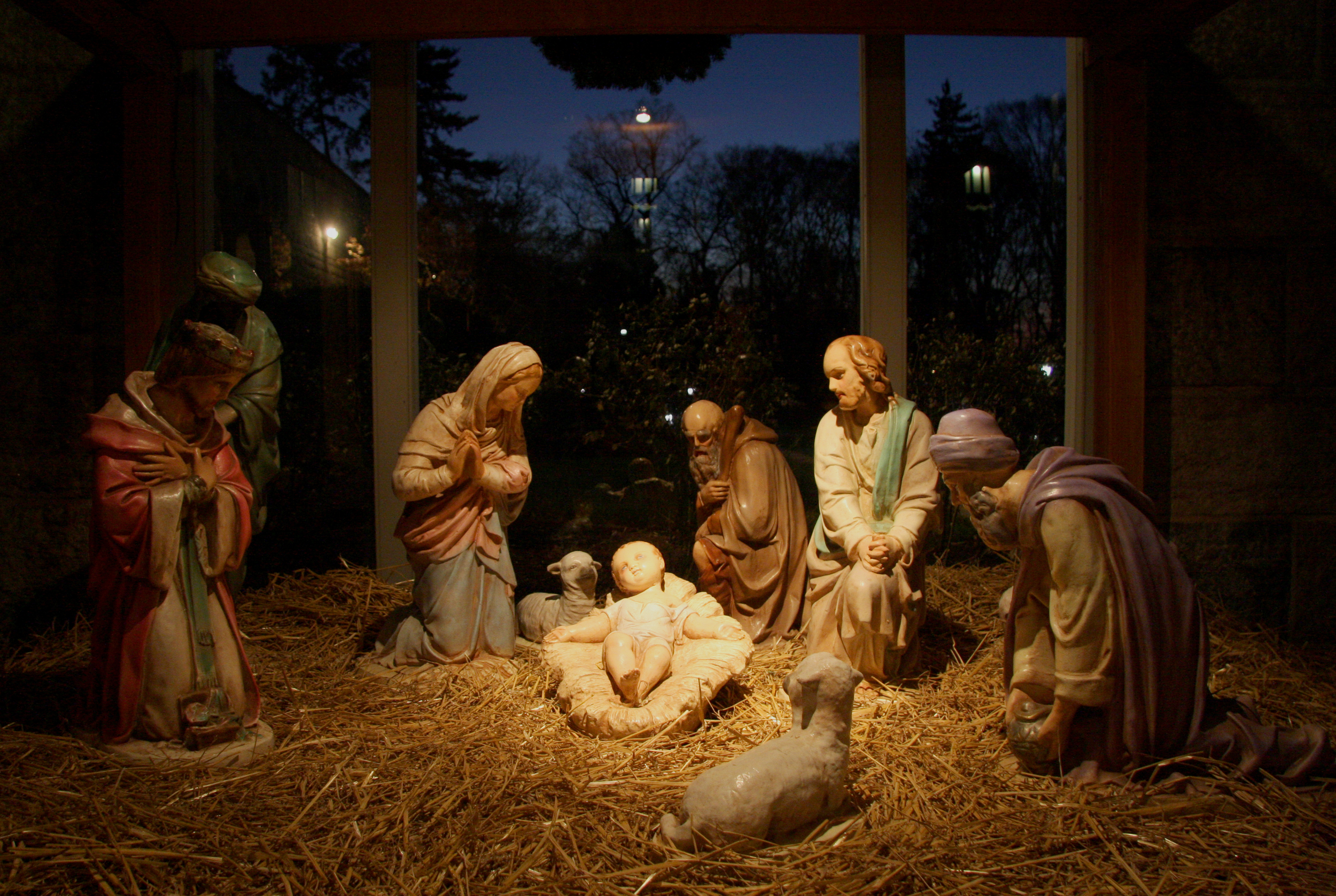 Figure 8: This large cast-stone Nativity was purchased by Antonio Morales in the 1970s from a Roman Catholic Church in Boston, Massachusetts. Each year, during the first week of December, Morales built a wooden stable for the figures on the family's front porch. For forty years he and his sons carried the large figures—which together weigh approximately half a ton—up the stairs from the basement.