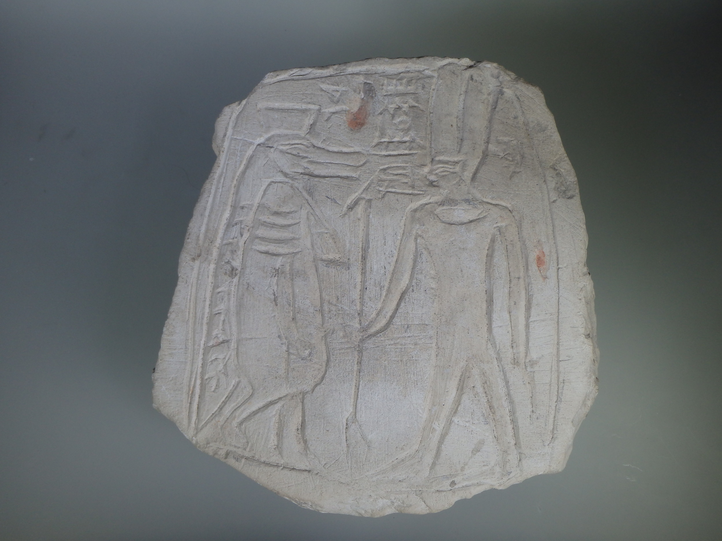 Figure 10: A limestone votive stela depicting the goddess Tawaret and the god Amun-Re. New Kingdom (1539-1075 BCE). University of Pennsylvania Museum 69-29-65.