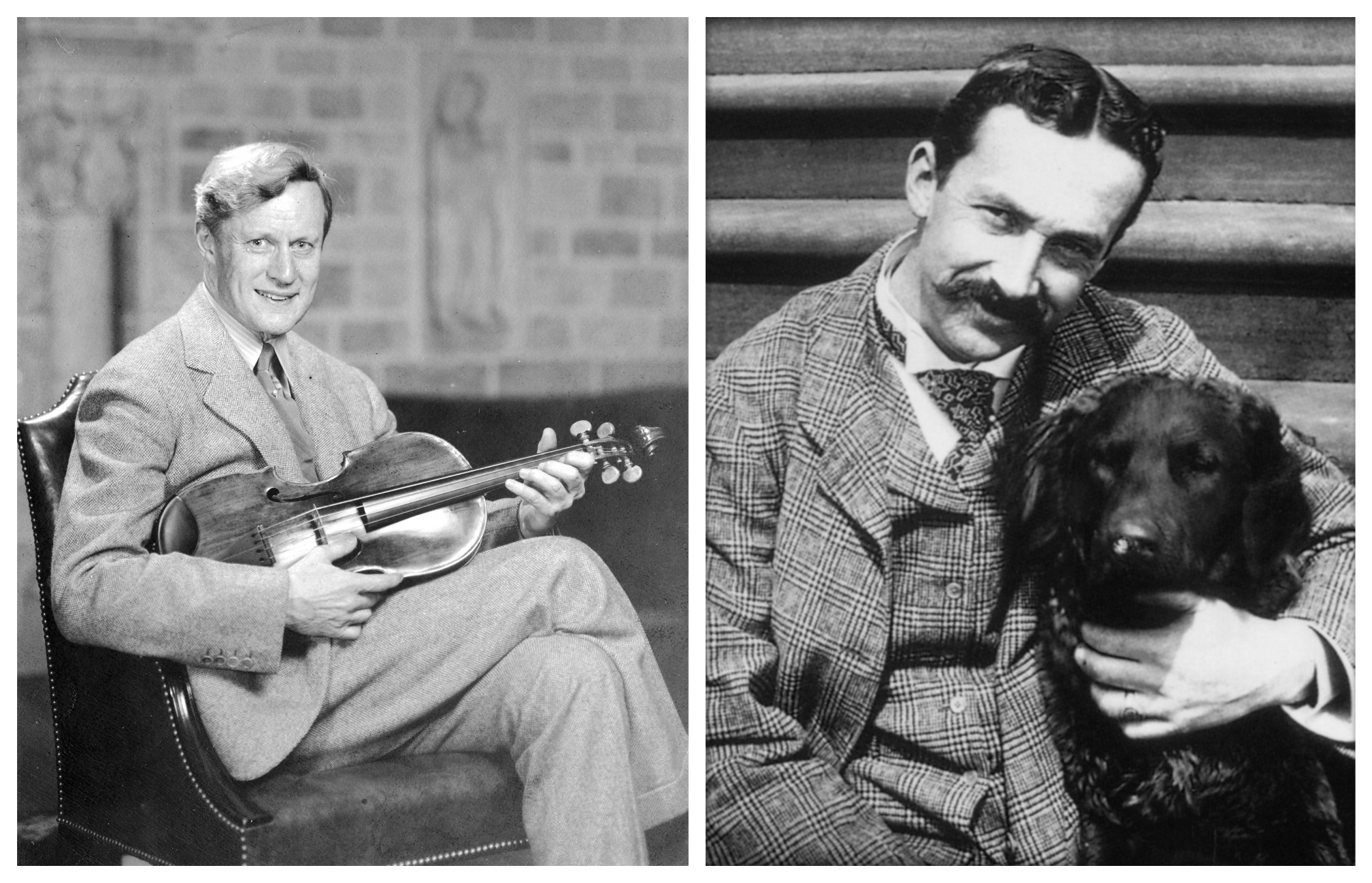 Figure 1: Raymond Pitcairn (left) seated in the Great Hall of Glencairn with his viola; Henry Chapman Mercer with his beloved dog, Rollo.
