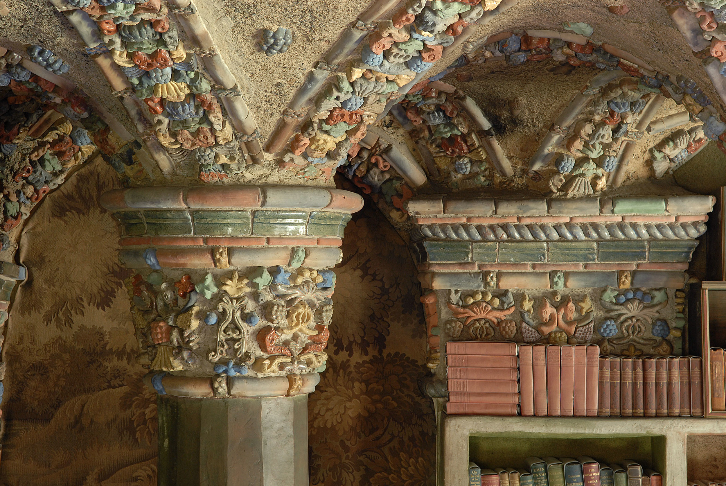 Figure 5: The library at Fonthill, decorated with tiles made in the Moravian Pottery and Tile Works. Photograph by Jack Carnell.