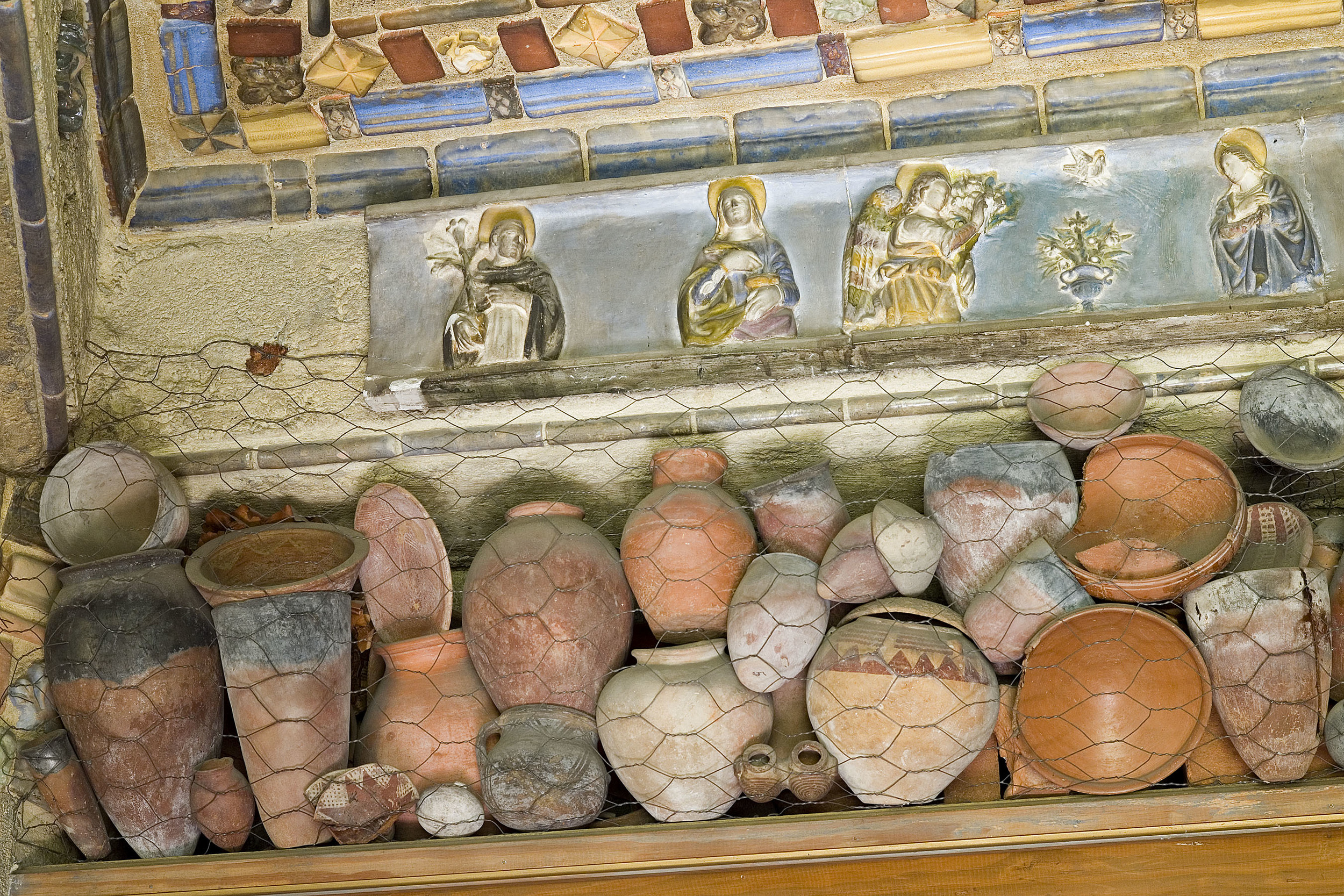 Figure 2: Ancient pottery from Mercer's collection displayed in his study at Fonthill. Photograph by Jack Carnell.
