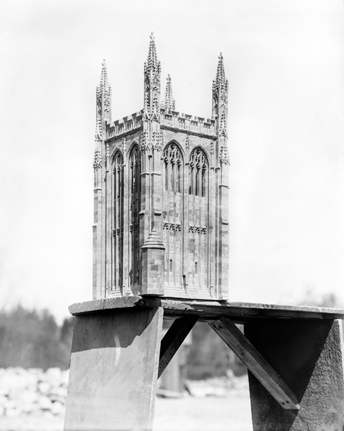 Quarter-inch model of Bryn Athyn Cathedral's tower on a bench (1918).