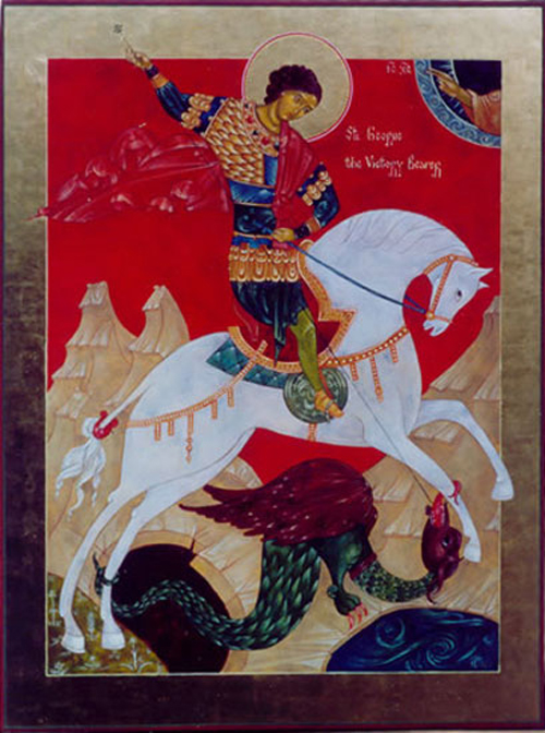Icon of St. George and the Dragon, by Susan Kelly vonMedicus
