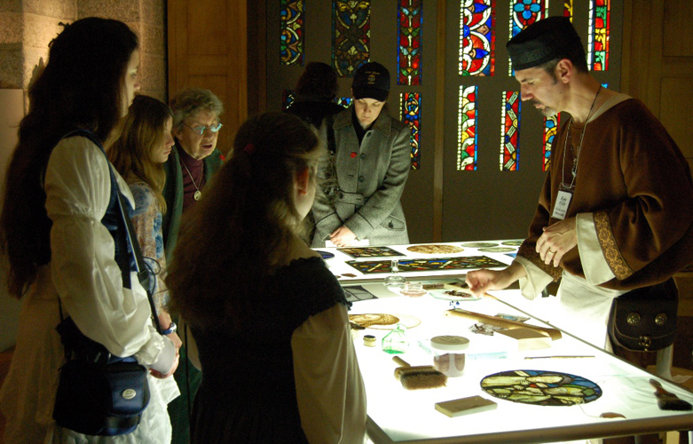 Ken Leap Demonstrates Medieval Glass Painting Techniques in Medieval Gallery