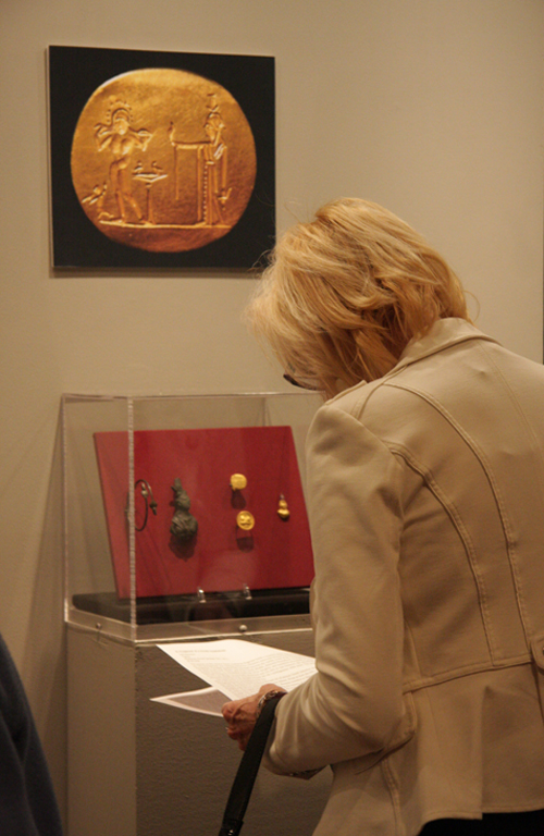 Exhibition Visitor Looking at Roman Jewelry