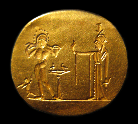 Roman Ring Depicting Isis (Right) and Aphrodite (Left)