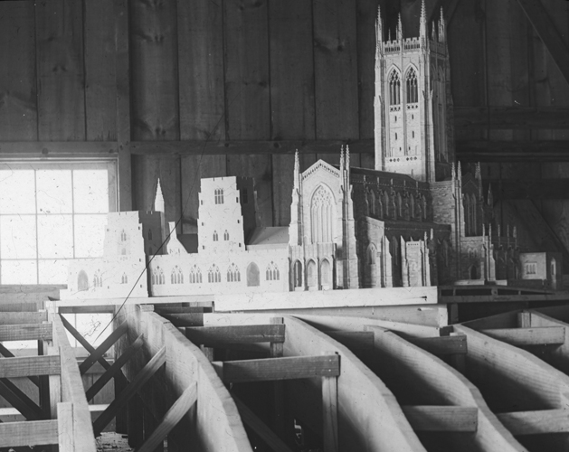 Model of Bryn Athyn Cathedral in Woodworking Shop