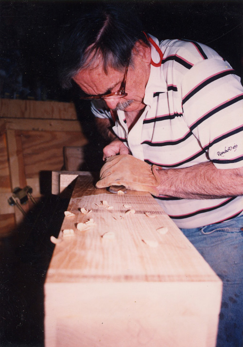 Richard Hicks in his workshop during the construction of the Fenix Press.