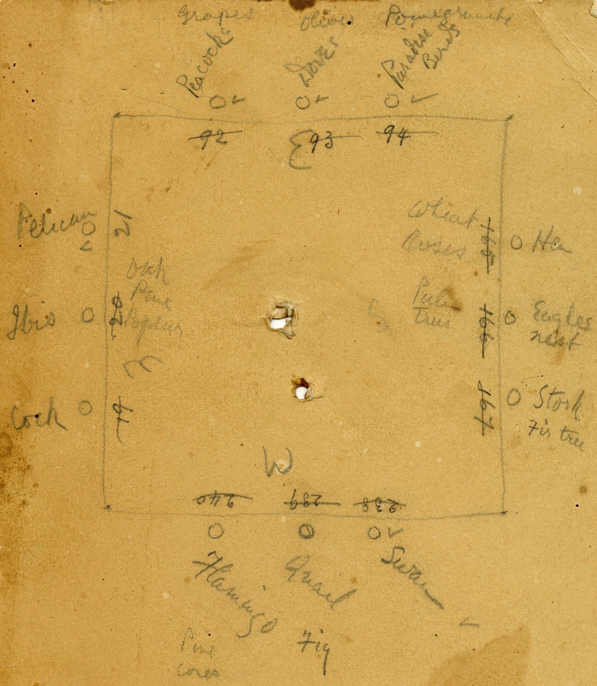 Figure 3: A rough sketch of the cloister plan in Raymond Pitcairn's own handwriting. Glencairn Museum Archives.