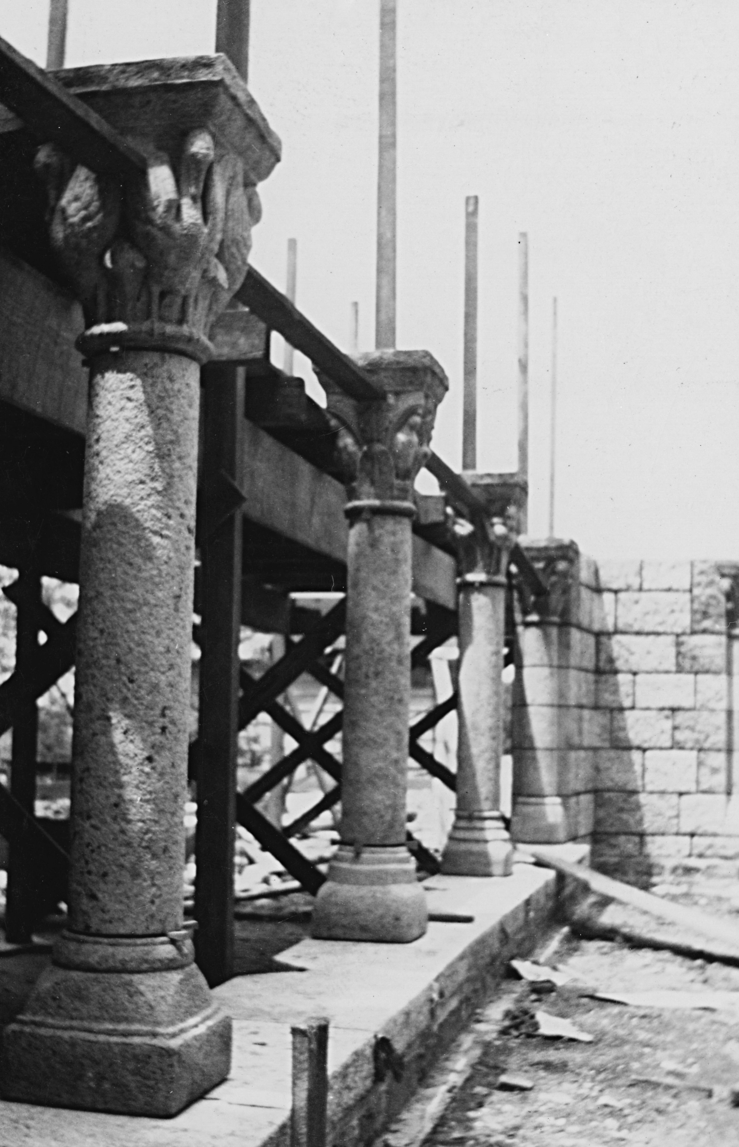 Figure 7: The west side of the cloister during construction. Glencairn Museum Archives.