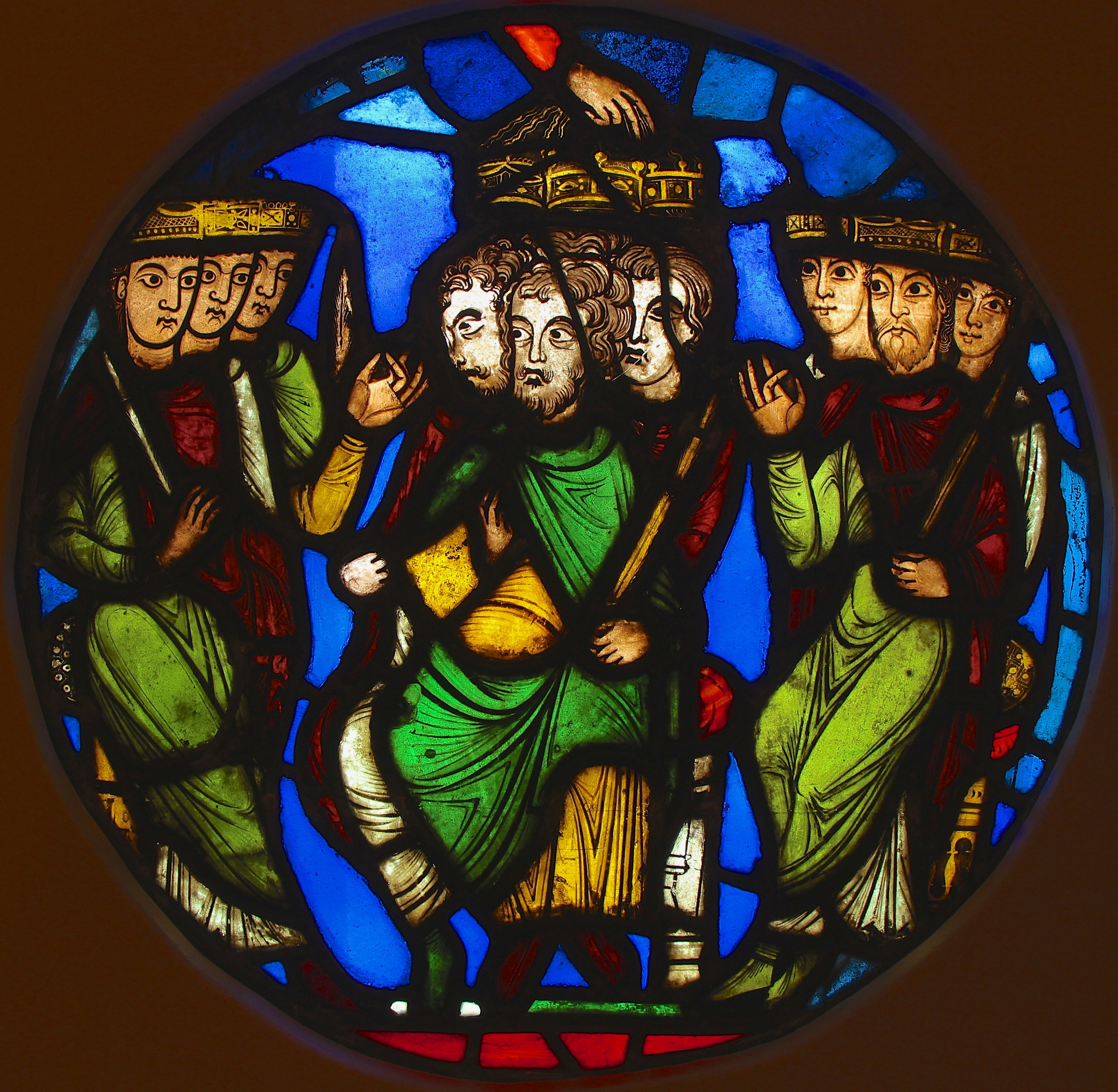 A Triple Coronation  from the 12th century First Crusade Window at the Abbey of Saint-Denis.