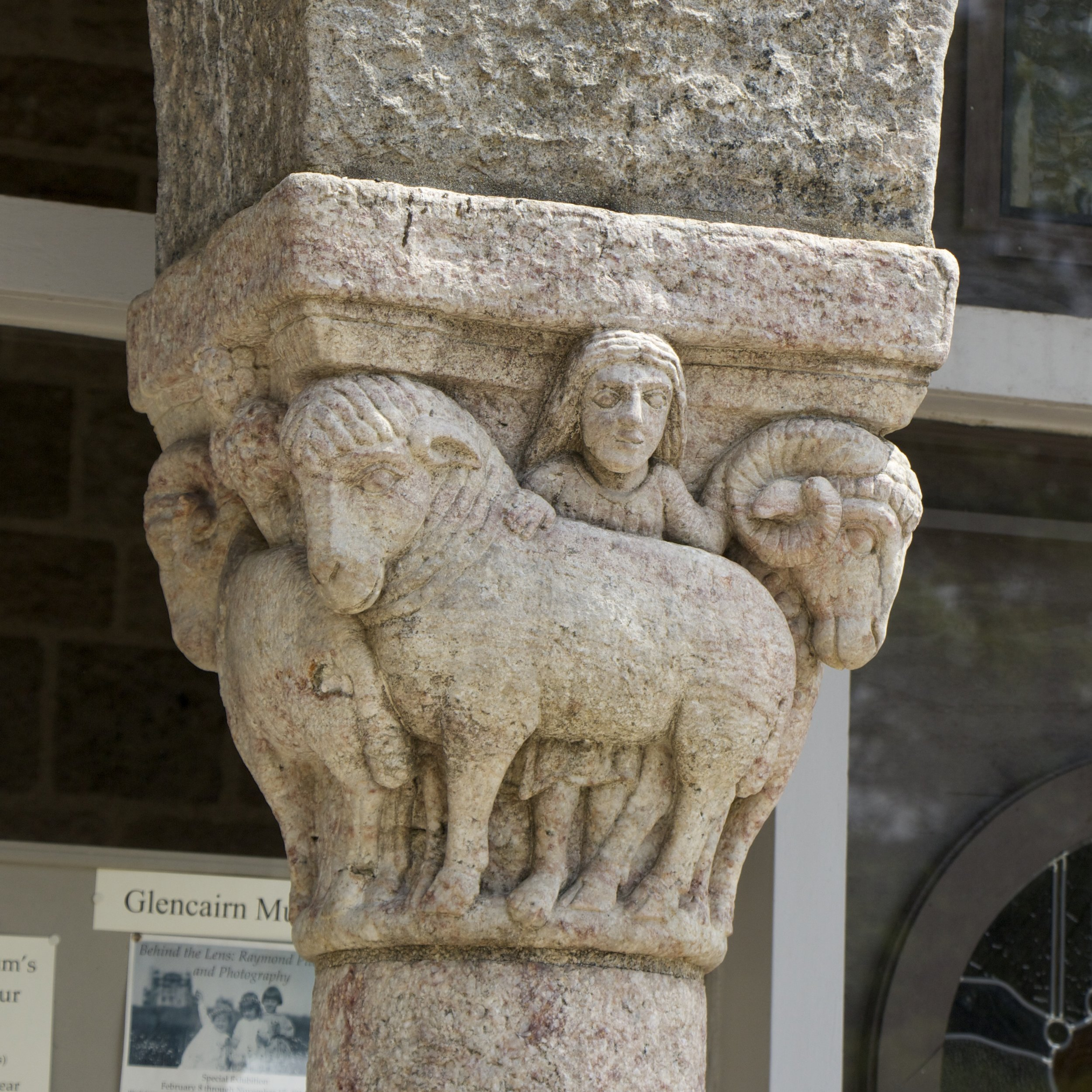 Figure 9: This capital, which helps support the roof of Glencairn's north porch, includes an image of a child.