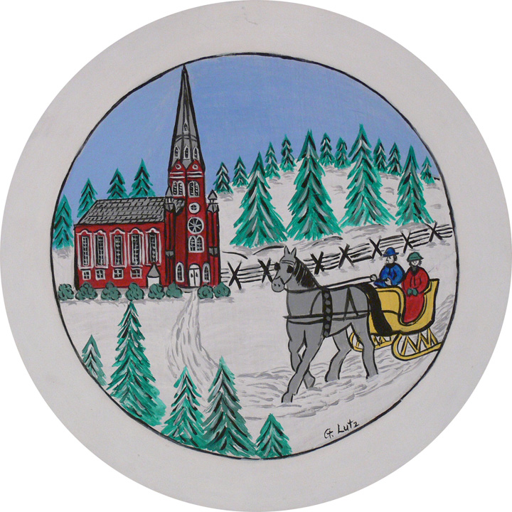 "Figure 9: ""[Christmas] was observed by attending Christmas services—listening to the high German sermons, having the churches decorated, and singing high German Advent and Christmas hymns"" (quote by Gladys M. Lutz, artist). On loan from the Pennsylvania German Cultural Heritage Center, Kutztown University."
