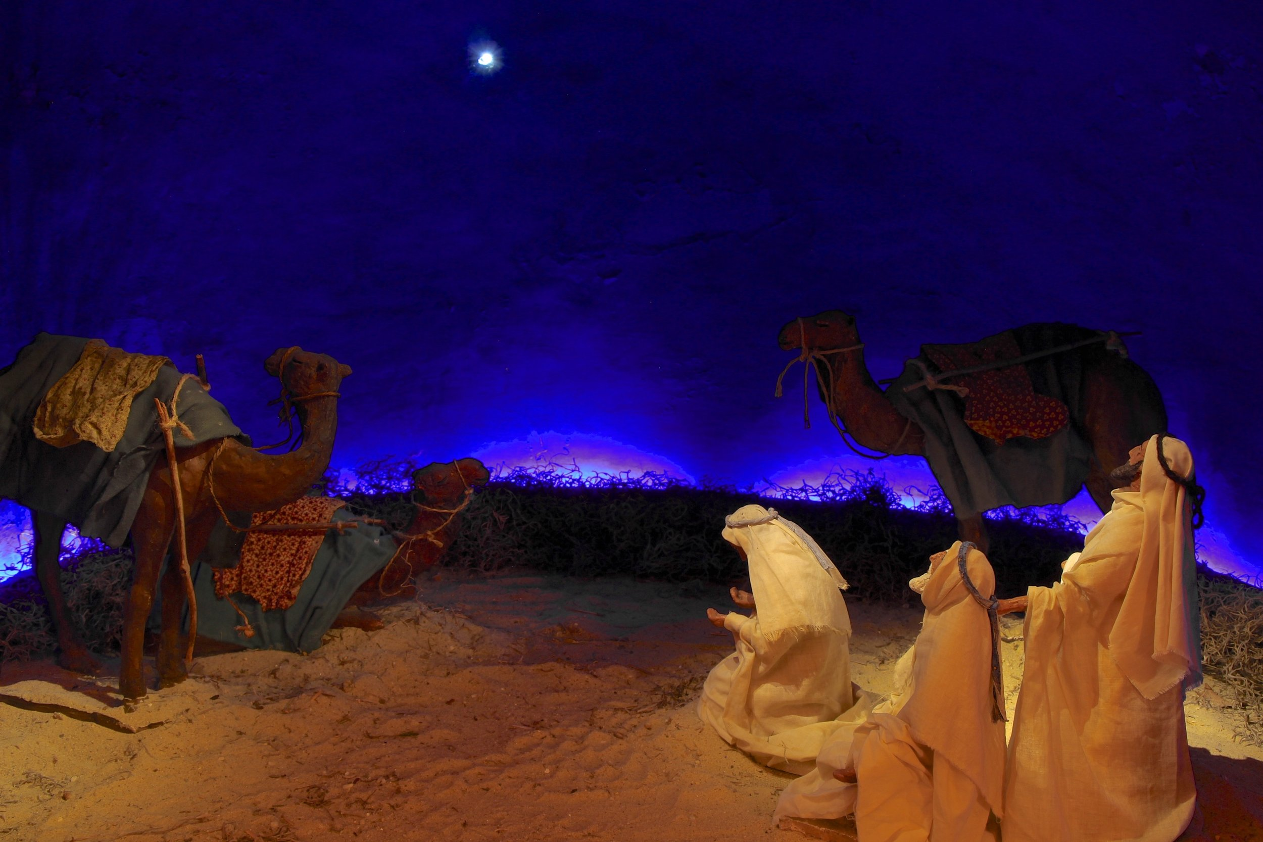 Figure 1: One of three Nativity scenes designed in the 1920s by Bryn Athyn artist Winfred S. Hyatt shows the Magi gazing at the Star of Bethlehem. The scenes were commissioned by Raymond and Mildred Pitcairn for use in their home at Cairnwood, where they were considered to be the most important element in the elaborate Christmas decorations in the parlor hall. A letter written by Raymond Pitcairn to Hyatt during the beginning of the work  (January 15, 1924) indicates his desire that historical accuracy be taken into account as well as artistic composition. When the Pitcairn family moved to Glencairn in 1939, the three-part Nativity scene moved with them. Collection of Glencairn Museum.