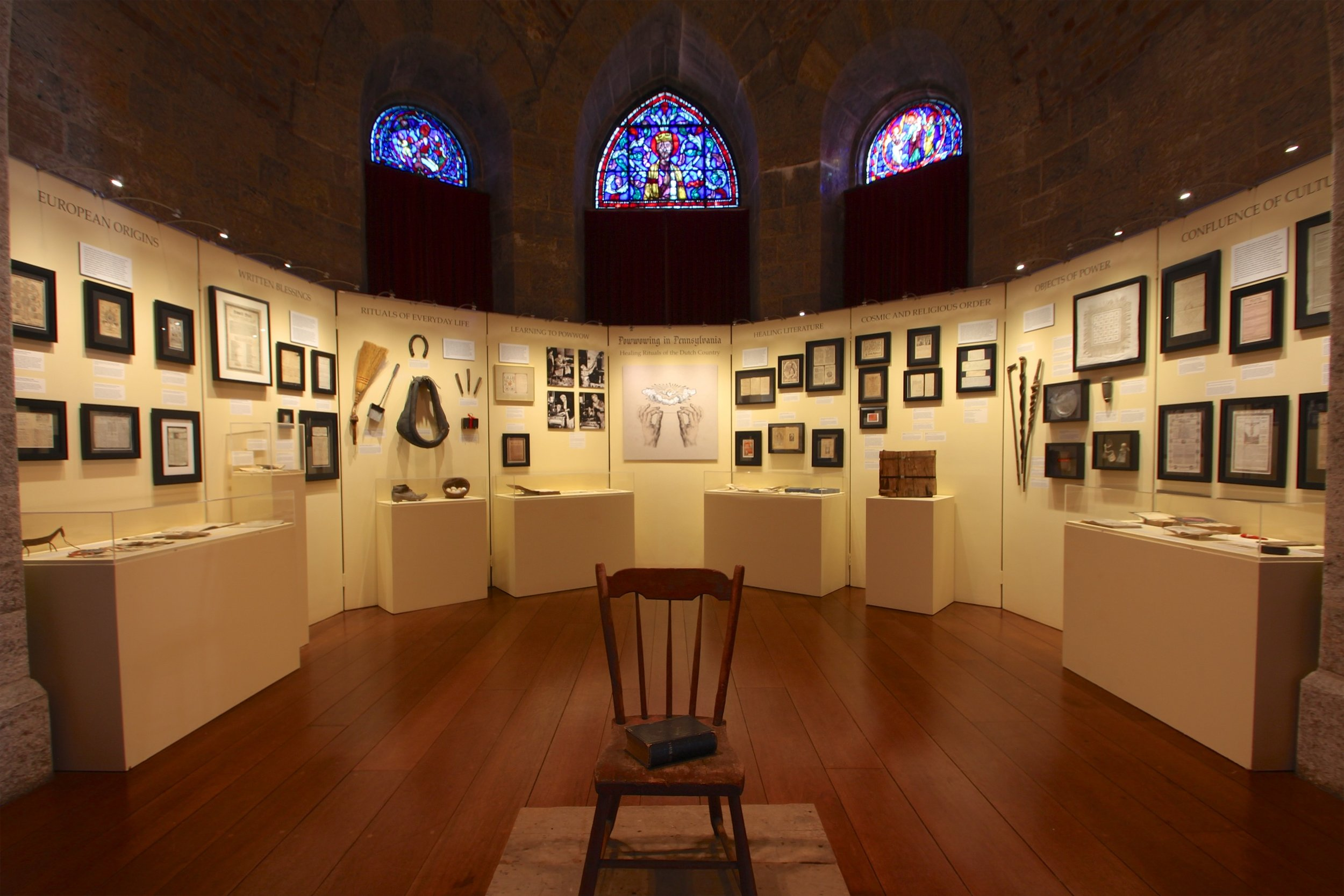 Powwowing in Pennsylvania: Healing Rituals of the Dutch Country  exhibition in Glencairn's Upper Hall.
