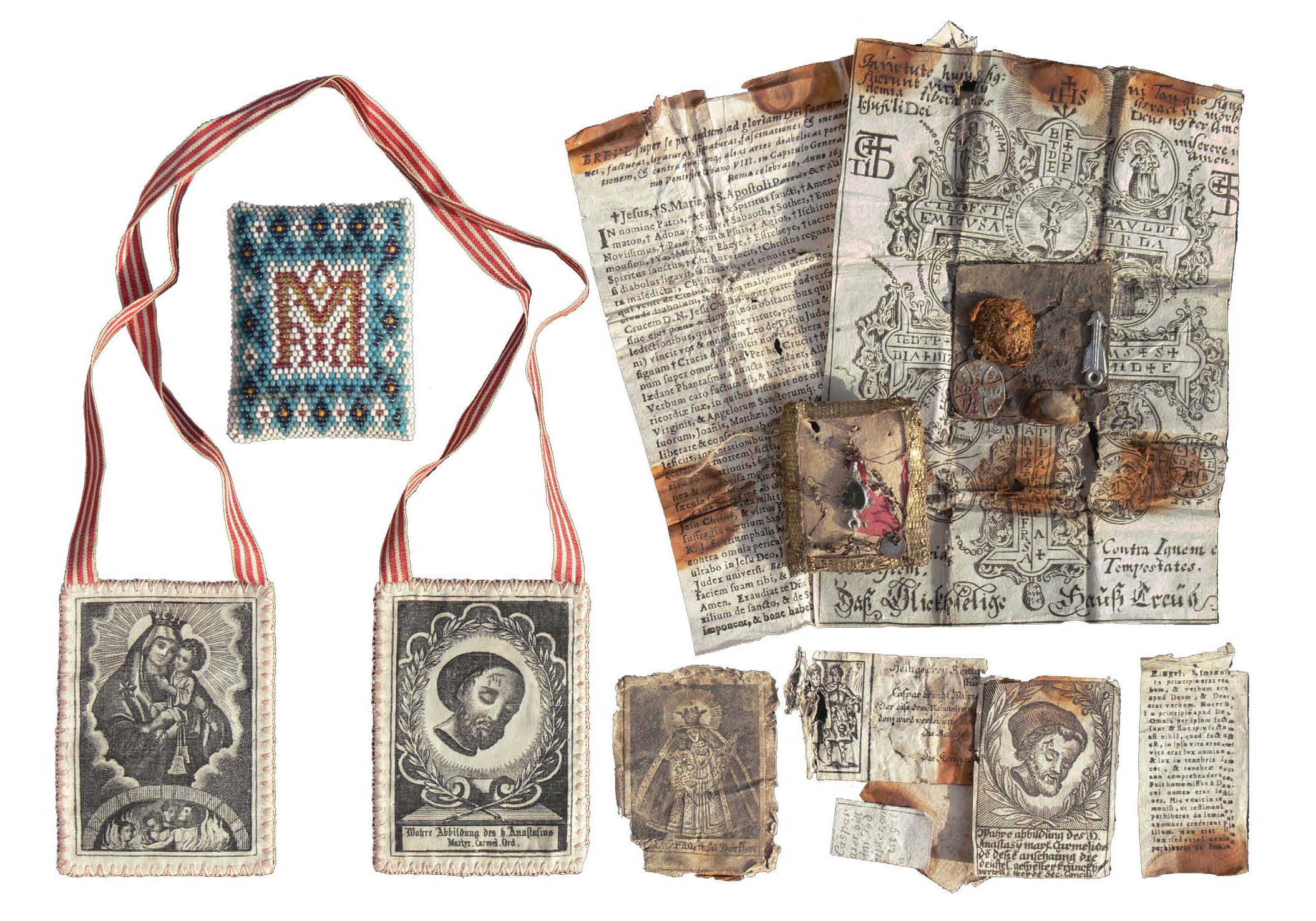 Figure 14:  Right : The contents of an 18th-century European letter of blessing ( Breverl ) which was sealed and worn on one's person.  Left : A scapular worn around the shoulders with images of the saints, as well as an unopened  Breverl , highly embellished with the beaded monogram of the Virgin Mary. Heilman Collection of Patrick J. Donmoyer.