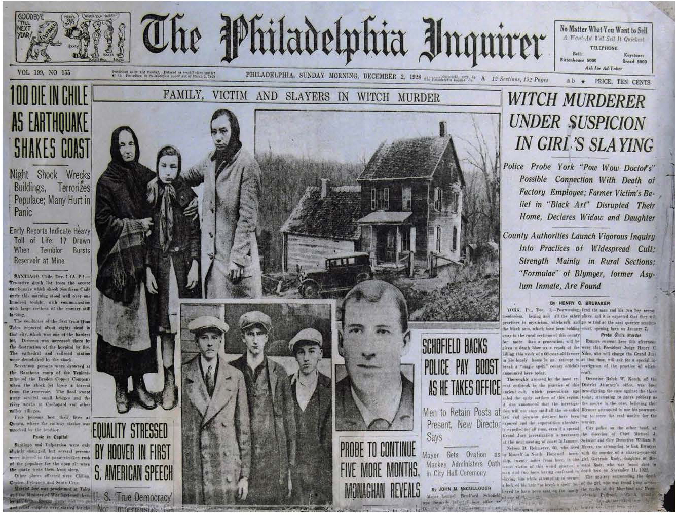 """Figure 27: York Hex Murder Media Coverage 1929,  Philadelphia Inquirer . Heilman Collection of Patrick J. Donmoyer.  Media coverage appeared on a national scale in the wake of the murder of Nelson Rehmeyer in York County, dubbed the """"Hex Murder."""" The murderer, John Blymire, an escapee from a mental asylum, was convinced that Rehmeyer had placed a curse upon him. In an attempt to break the """"hex"""" by obtaining a lock of hair or Rehmeyer's copy of John George Hohman's  Long Lost Friend , Blymire and two accomplices John Curry and Wilbur Hess killed Rehmeyer on the night of Thanksgiving in 1928. The trial drew national media attention to the persistence of beliefs associated with powwow in Pennsylvania; however, this media attention was heavily biased, and promoted many negative, false, and culturally insensitive stereotypes about the Pennsylvania Dutch people. The incident is often indicated as the single-most defining moment in Pennsylvania's anti-powwow crusade, which swept across the state. Threats from lawmakers, physicians' councils, and civic organizations forced traditional healing to be conducted in secrecy for fear of prosecution for practicing medicine without a license."""