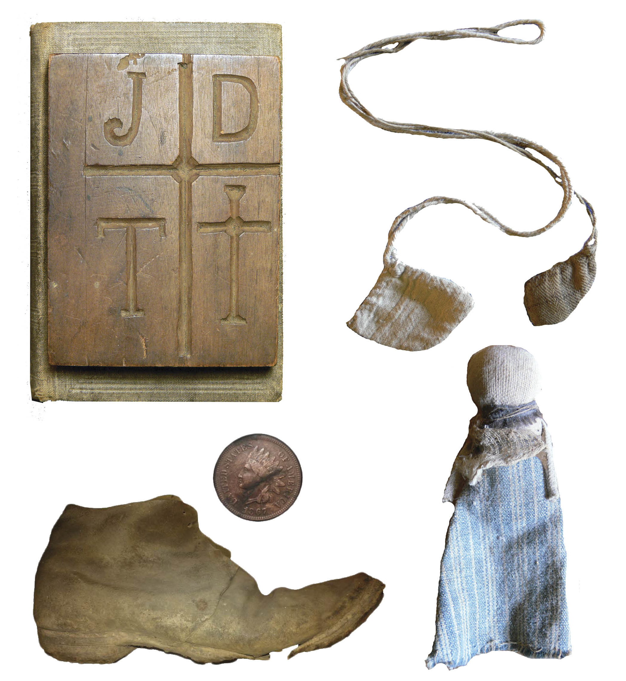 Figure 31:  Clockwise from top left : Bible-board with carved symbols, used by a powwow doctor near Emmaus, Lehigh County. Heilman Collection of Patrick J. Donmoyer. Gift of Willard Martin; Asaphoetida bags used to ward off illness, mid-19th Century, Lancaster County, Pennsylvania. Courtesy of Clarke Hess; Ritual doll, concealed in late 18th-century Lancaster County log house. Courtesy of Clarke Hess; Concealed shoe and penny, discovered in 1867 log house from Bern Township, Berks County. Courtesy of Jim and Marcia Houston.