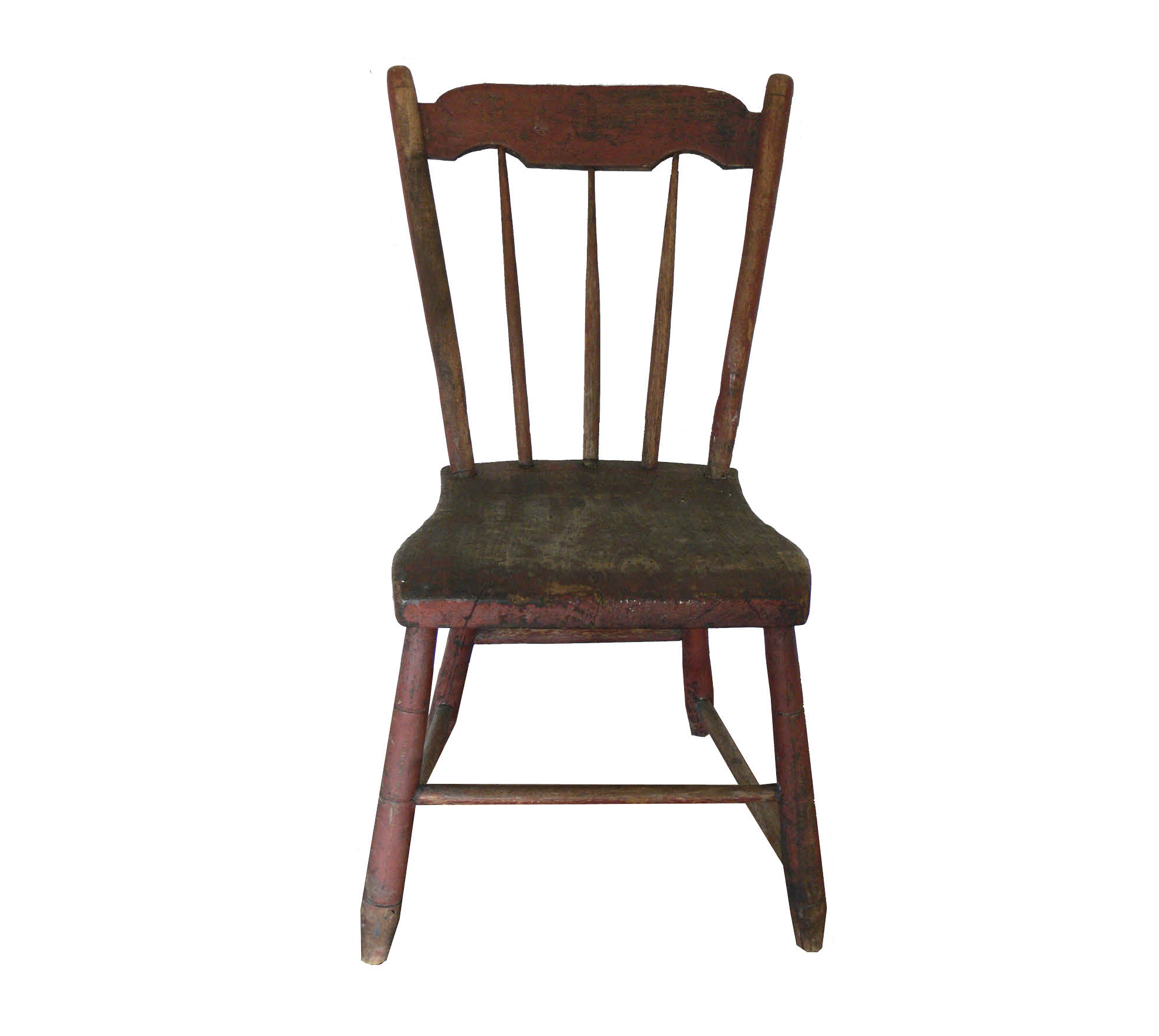 Figure 1:  Powwow Chair,  Late 19th century, Manheim, Lancaster Co. Thomas R. Brendle Museum Historic Schaefferstown.  A chair used specifically for powwowing, upon which patients were seated. Although appearing to be a normal chair in all respects, the following symbolism is attributed to it: The red paint symbolized the blood of Christ; the two arches in the cresting rail—the two tablets of the law given to Moses; the two large vertical stiles—the pillars of the church; the three vertical spindles—the apostle Paul, Jesus and Peter, the Rock; the front lower stretcher—the Judas the betrayer (upon which the patient should rest her right foot in disdain); the three rings on the legs—the Holy Trinity; and the low construction of the chair was to humble the patient to receive healing.