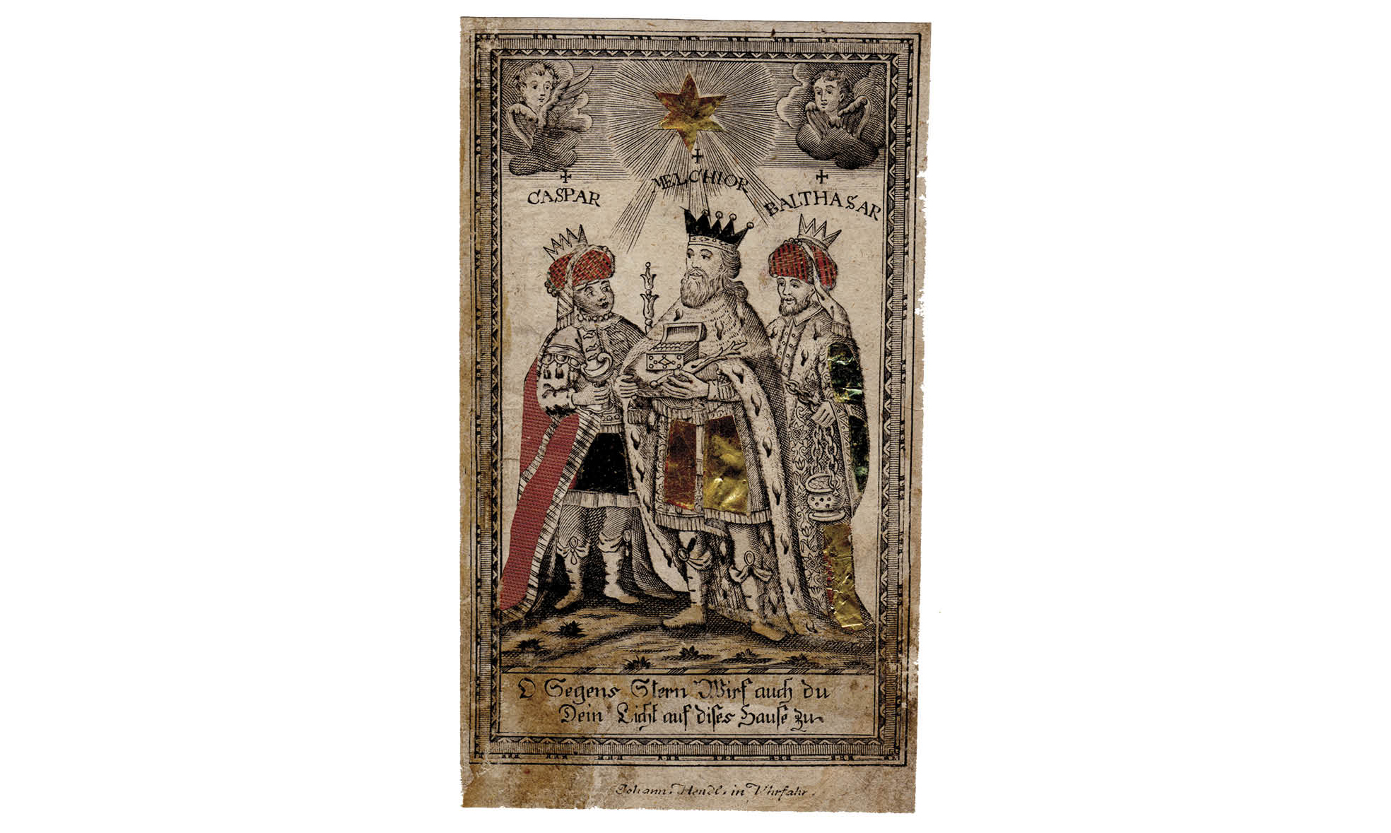 Figure 12:  Drei-Königzettel  (Three Kings Broadside), late 18th century. Heilman Collection.  A European broadside of the Three Kings Prayer, which was later republished in Pennsylvania, most notably, in Kutztown by Urich & Gehring ca. 1880. This prayer developed in the wake of veneration of the Three Kings following the moving of their legendary remains to the cathedral in Cologne. The prayer appeals to the Three Kings, symbolized by the initials C†M†B† for protection against natural disaster and the predations of the wicked.
