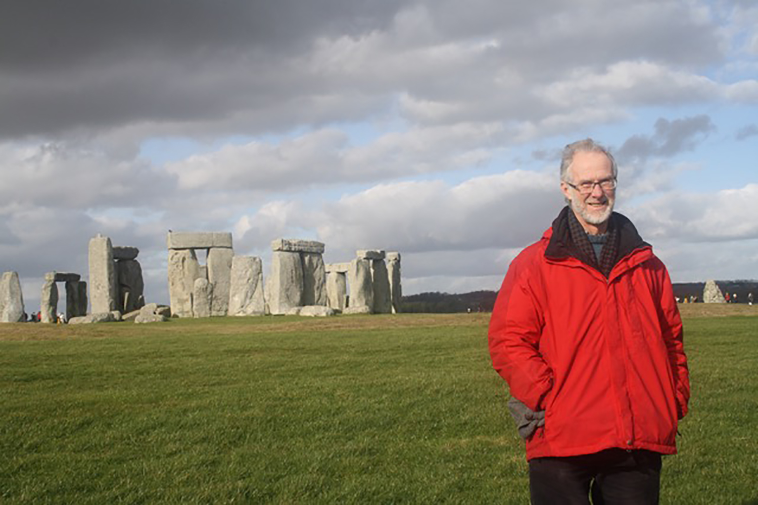 Crispin Paine at Stonehenge, a prehistoric monument in Wiltshire, England.