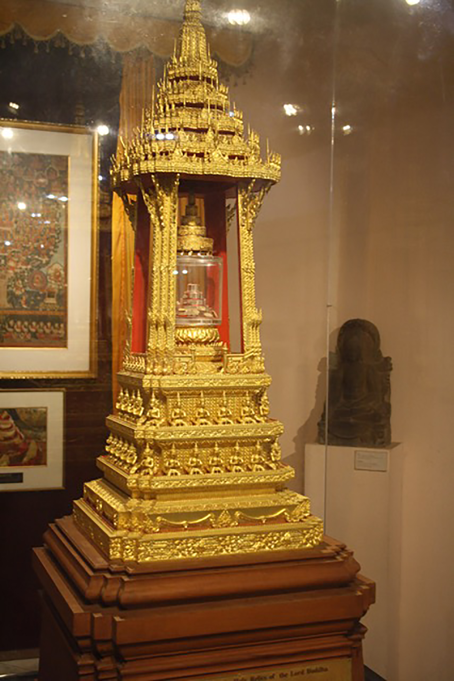 "A shrine containing relics of the Lord Buddha presented by the government of Thailand to the National Museum in Delhi, India. According to the museum's website, ""These objects are of great reverence to Buddhist pilgrims, and the Museum gets hundreds of visitors of Buddhist faith from all over the world who come to this room to pay homage and venerate the relics."" Photo: Crispin Paine."