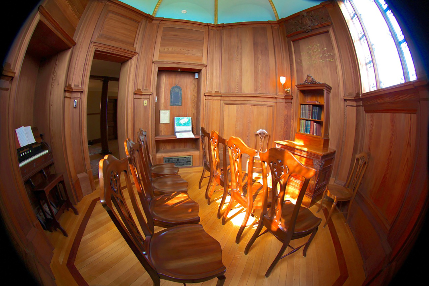 Figure 7: The Cairnwood chapel, looking north toward the entrance. The room, octagonal in shape, is located in the tower at the top of the main staircase.