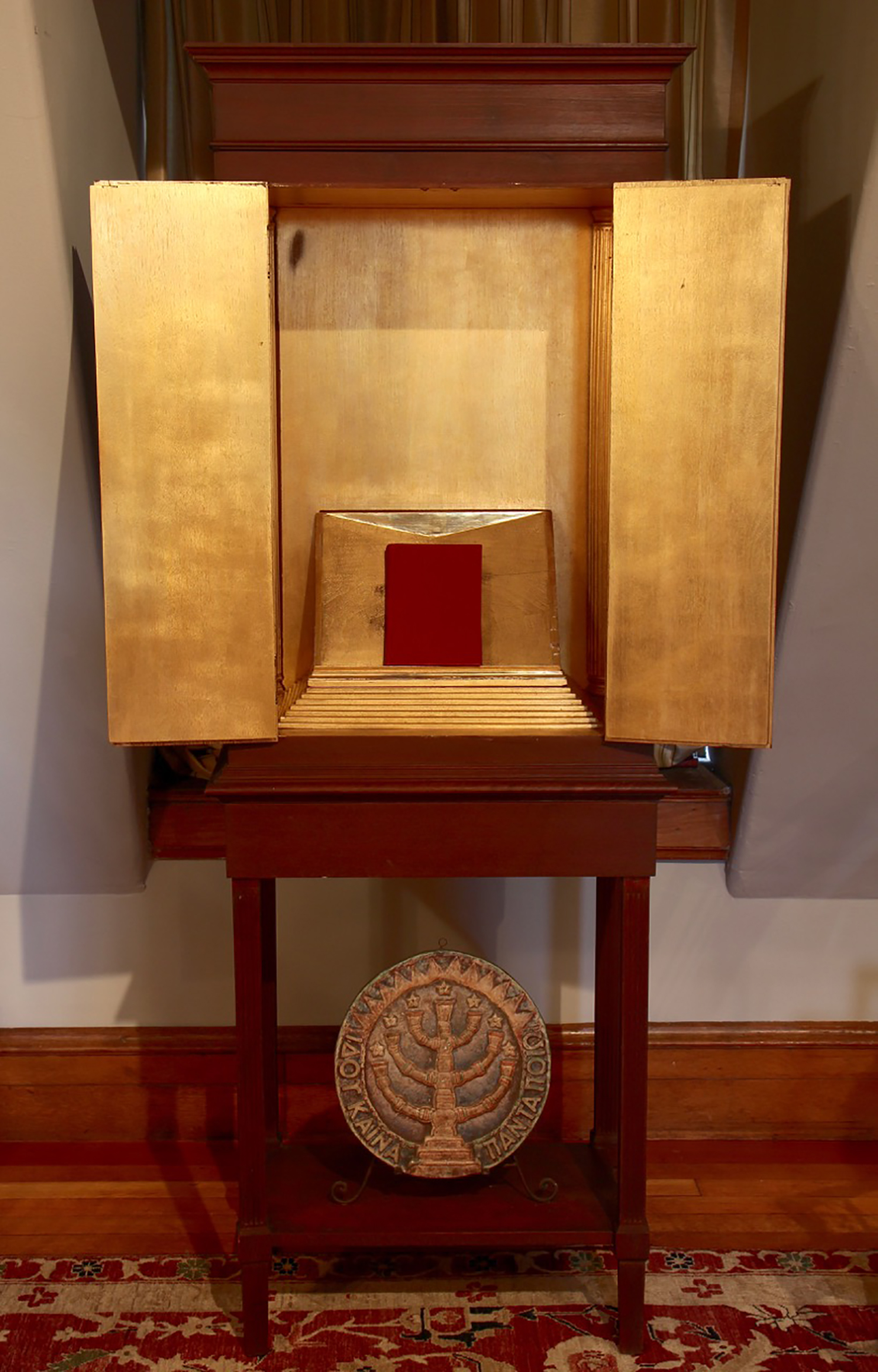 Figure 8: A special Bible cabinet was designed for the living room by Bryn Athyn artist Winfred Hyatt. It was given to John Pitcairn by Raymond and Mildred as a Christmas present in 1915.