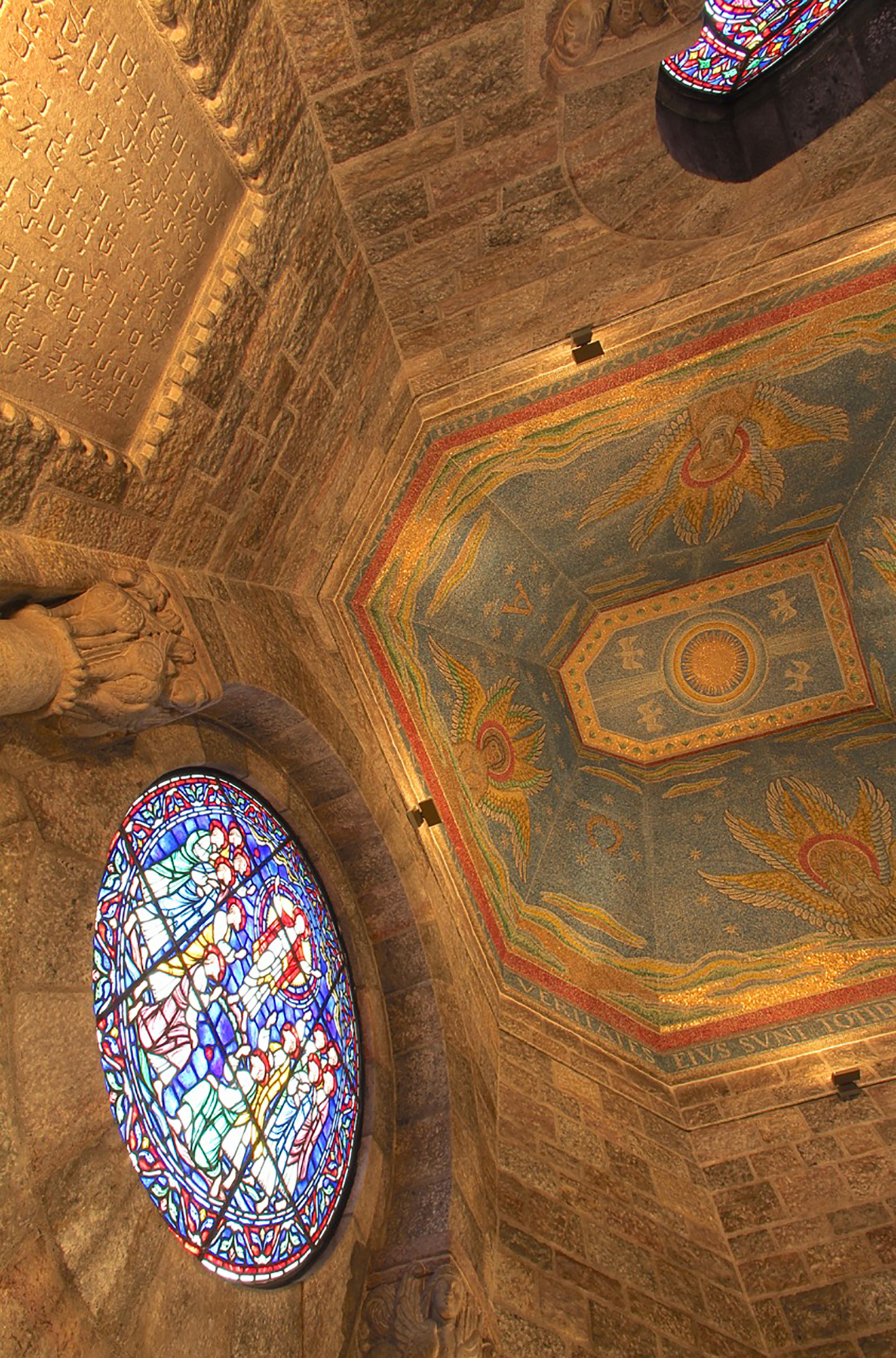 Figure 13: The chapel's ceiling includes a striking depiction in glass mosaic of the four living creatures around the throne of God in heaven (Book of Revelation 4:7). In preparation for this work, Raymond Pitcairn's artists in the Bryn Athyn Studios studied mosaics in some of the finest fifth and sixth century baptistries and churches in Ravenna, Italy.