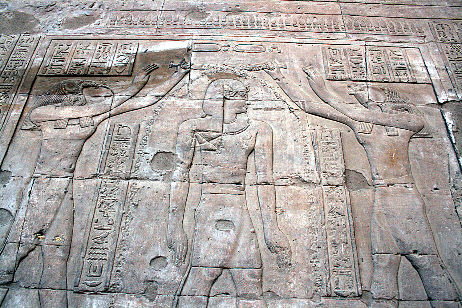 Figure 13: Temple rituals often involved the use of water for libations and purification. An image of one of these religious rites can be seen on the wall of the Temple of Horus at Edfu. Photo courtesy of Hedwig Storch.