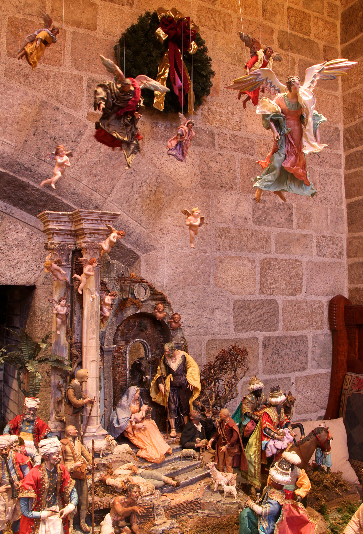 The figures in this magnificent Presepio, or Nativity scene, date to the late 19th and early 20th centuries. They were collected over a period of more than thirty years by the late Elizabeth Anne Evans of Bucks County, Pennsylvania, during her annual trips to Naples, Italy. The Presepio is on loan from the Samuel S. Fleisher Art Memorial in South Philadelphia.