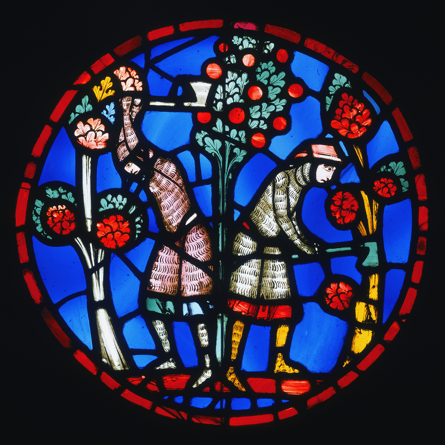 Figure 6: Roundel showing the Orchards Outside Damascus Devastated by Holofernes's Army, from the Sainte Chapelle, Paris, c. 1246-48, stained glass, 23 ¾ in diameter, Philadelphia Museum of Art: Purchased with funds contributed by Mrs. Clement Biddle Wood in memory of her husband, 1930-24-1.