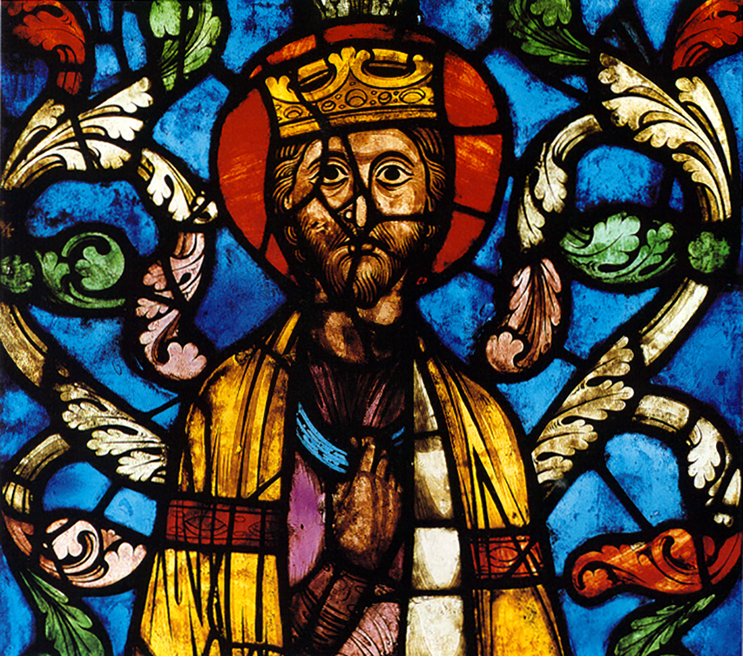 Figure 7: King from The Tree of Jesse Window, Cathedral of Saint-Gervais et Saint Protais, Soissons, 1210-15, stained glass, 30 ½ x 31 ½ in., Glencairn Museum.
